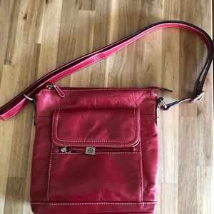 Gianni Bini Red Leather Crossbody Bag